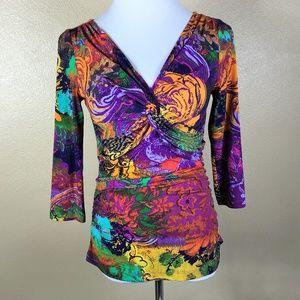 Boston Proper Top Size Small Purple Orange Knit